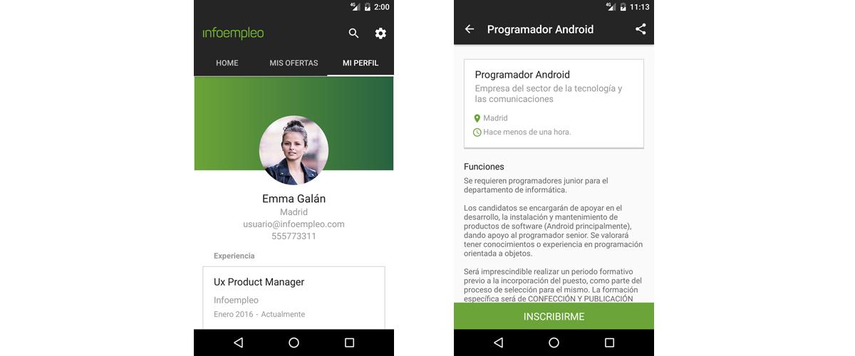 Nueva aplicación de Infoempleo para buscar trabajo